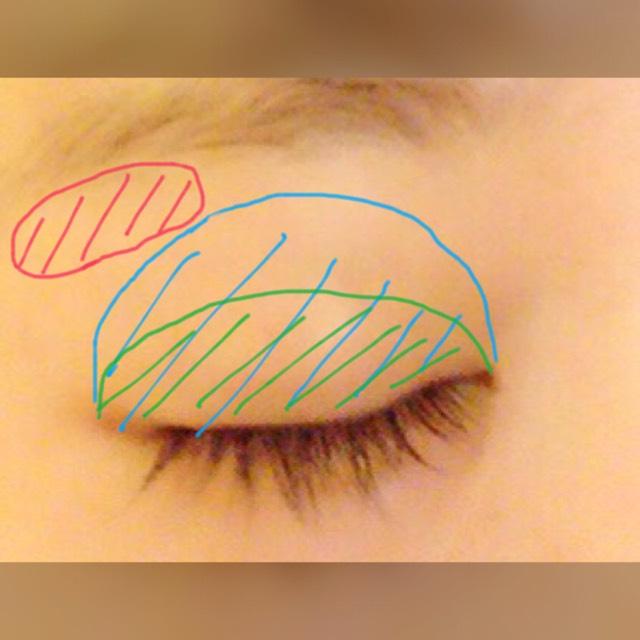 3番を、目を開けたときの二重の線まで小指で塗ります。