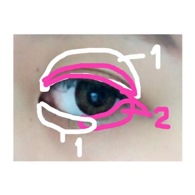 その次に細い方で「1」を取り、目頭から黒目までを塗ります ※涙袋効果があります。