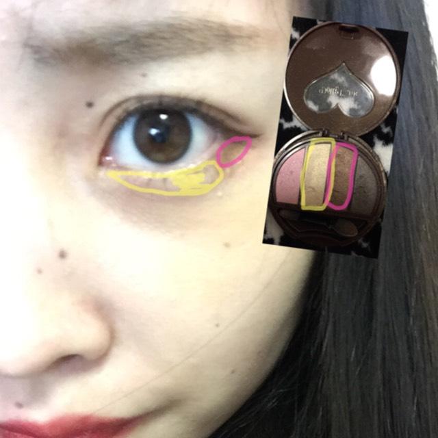 目の下も写真のように! チップは細いほうをつかいます!o(^▽^)o 塗りつぶしているところは濃いめに!