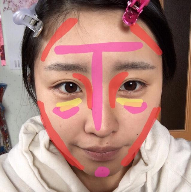 赤:シューディング ピンク:ハイライト 黄色:コンシーラー