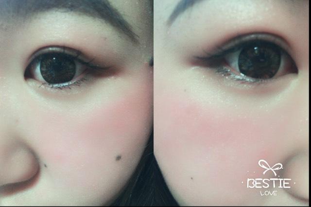 下の瞼に軽く1番濃い色のシャドウを入れ、下まつげのみマスカラします。