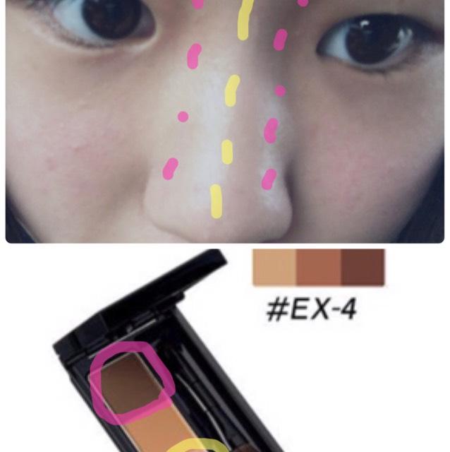 ③ノウズシャドー  私はKATEのパウダーアイブロウ(¥1020)をノウズシャドーに使ってます! ピンクの部分は少しつけて指で馴染ませる感じで大丈夫だと思います!