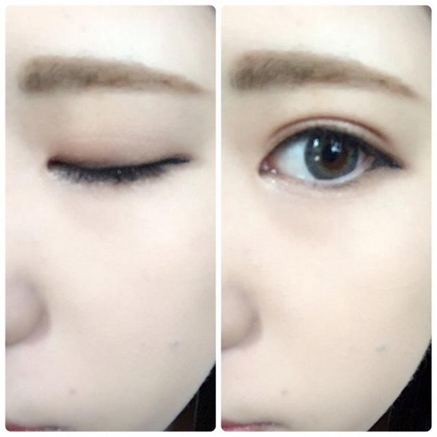5のジェルアイライナーで目のキワ細めに描き、目じりは目に沿ってタレさせ下まぶたと三角形になるようにつなげる。アイシャドウの右下のカラーでラインを少しぼかす。