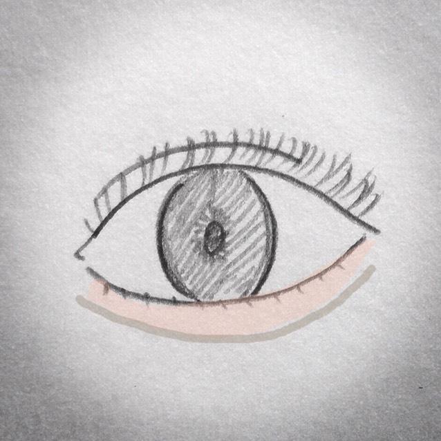 眉ペンシル(薄めのブラウンがオススメです)で涙袋の影を書く。
