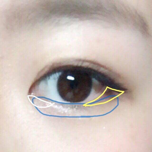 3☞目尻に 4☞下瞼?涙ぶくろ全体に 5☞涙袋の目頭部分  アイプチで2重をしっかり作ります。 ペンシルで粘膜を埋めます。