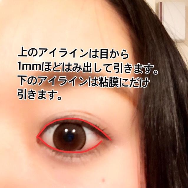 上のアイラインは目から1mmほどはみ出して引きます。 下のアイラインは粘膜にだけ引きます。