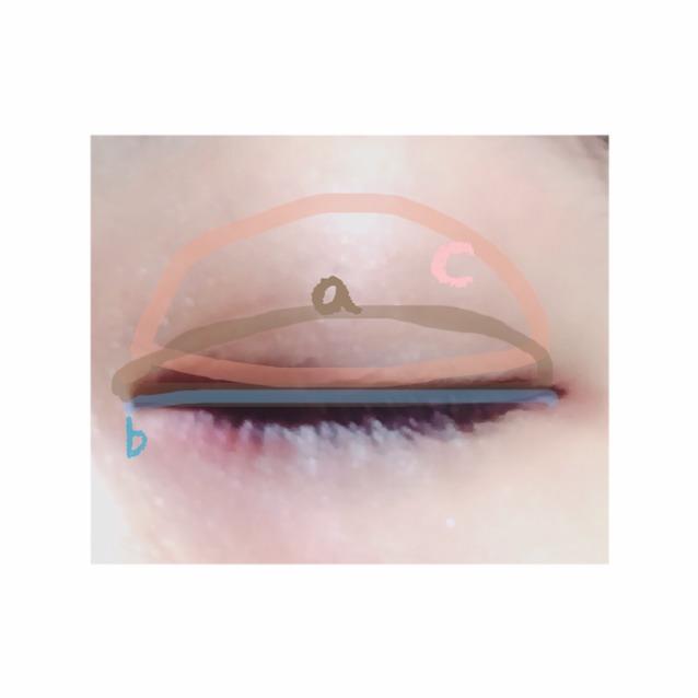 まずcを指にとりアイホール全体に  つぎに、二重はばにaを塗る  bは平筆にとり、アイライン代わりに  dをアイホールに散らすとキラキラする