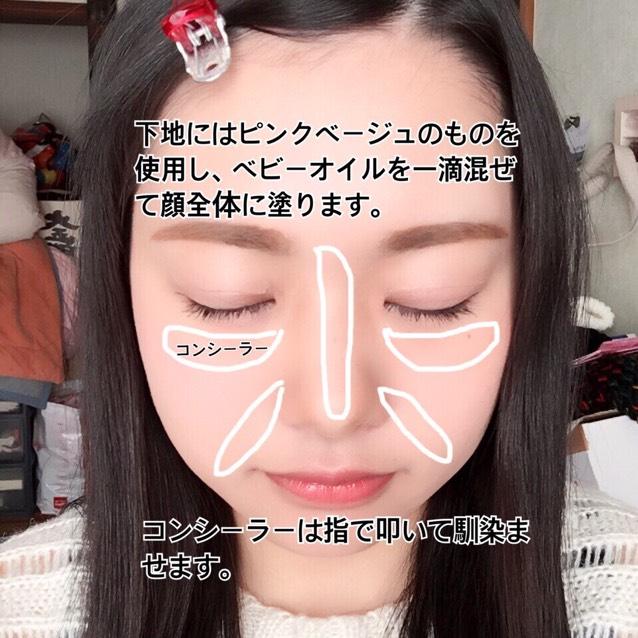 下地はピンクベージュのものを使用し、ベビーオイルを一滴混ぜて顔全体に塗ります。 コンシーラーを図の位置に塗り、指で叩いて馴染ませます。 ベリサムのAファンデーションを鼻筋、頬の高いところ、おでこ、顎に塗ります。