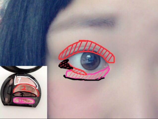 1はアイホール全体 3を二重幅に  後は画像通りです。 ※目の下は目尻から½—までは2 目尻は3をぬる 3で涙袋の影を作る
