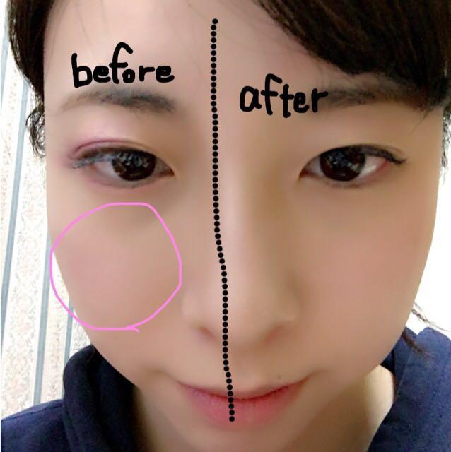 チークはパウダーで薄く丸く広めにします。眉毛は平行にできるだけ薄めの色にしてください…今回は色がありませんでした。