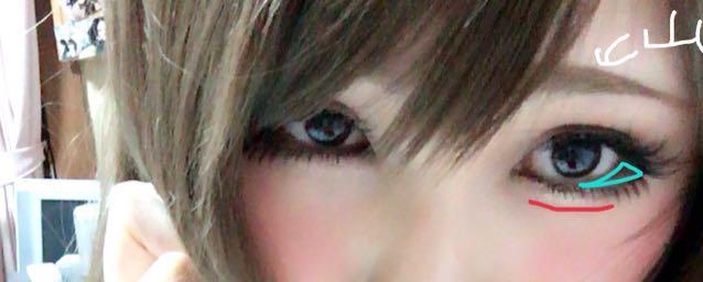 茶色のせんのとこに涙袋を強調するブラウンの薄い線をいれます。 水色部分にルナソル右下をのせそこを避けるようにしたまつ毛のつけまを装着 眉は黒目が終わるとこの上に眉山が来るように眉尻は長めです