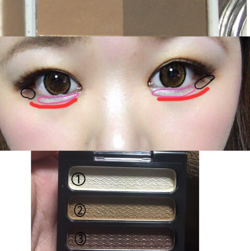 ピンクの所は①のアイシャドーを塗ります  黒の部分は③のアイシャドーをぬる  赤はアイブローで使った化粧品の濃い方を笑ったときにできる 涙袋の影の部分に塗ります。  付けまつ毛をアイライナーに合わせ 少しした目に付けます。