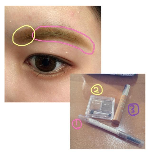 次はアイブロウです。 最初に眉尻を①のペンシルを使って書きます。 次に②のパウダーで眉頭を書きます。あまり濃くならないように! 最後に③の眉マスカラで毛の色を変えて完成です。