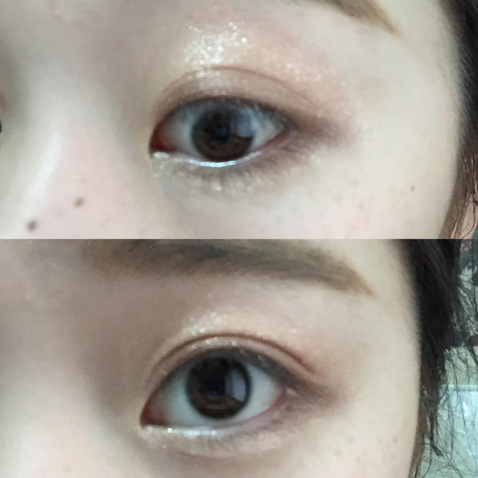 目頭から黒目のしたまで1と2を混ぜてぬります、こんなかんじになります。