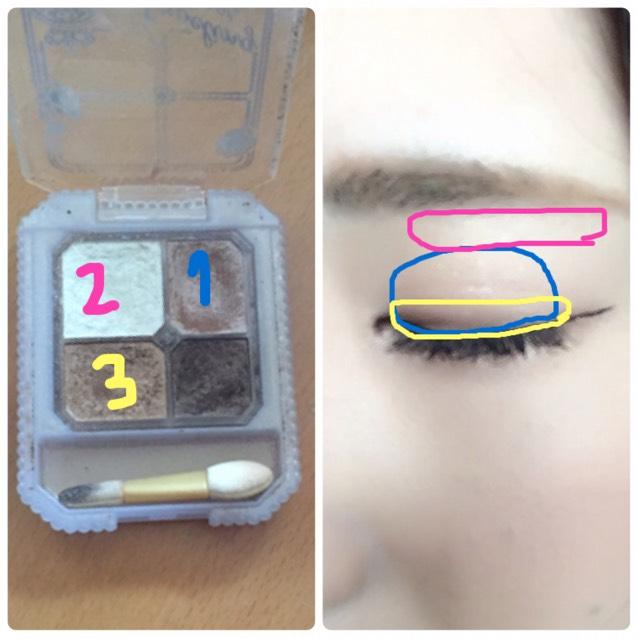 1のカラーをアイホール全体に、2のカラーを眉下に薄めに、3のカラーを二重幅よりややせまめにのせる。