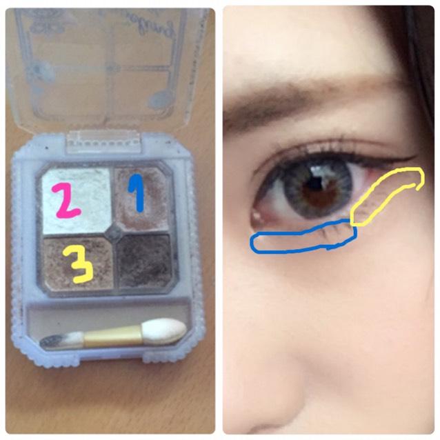 1のカラーを下まぶた目頭2/3の涙袋の部分にのせ、3のカラーを目尻1/3にのせる。