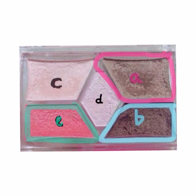 使うもの2  写真に近い色味のアイシャドウ  これはキャンメイク  a、b、eを使う