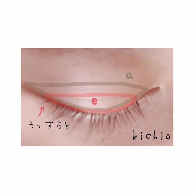 つぎ  二重はばオーバー気味にaのミルクティー色を、睫毛の生え際から3ミリ程度までeを塗る