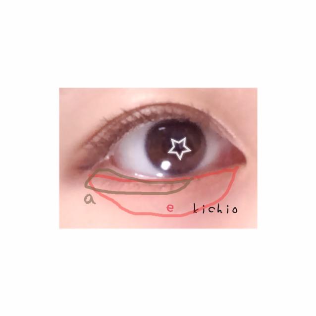 つぎ  まず涙袋オーバー気味にeを濃いめにぬる  そして黒目から目尻側にうっすらとaを入れる  チークをぬるひとは eにつなげるようにコーラル系チークを入れる  クリームタイプがおすすめ