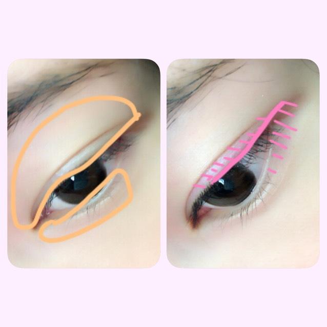 アイシャドウ。 ベージュを目の周りに入れて、ピンクをラインのように引いたら斜線部分まで指で伸ばしてください。