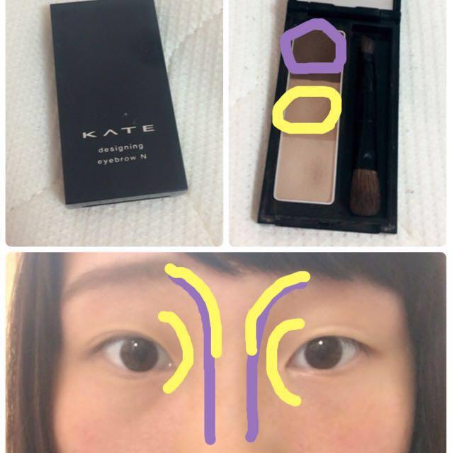 眉毛は紫と黄を混ぜて平行に書く。ノーズシャドウは写真の通りに入れる!(⚠️ノーズシャドウは一番薄い色で。すいません、間違いました)ハイライトはお好みで♡