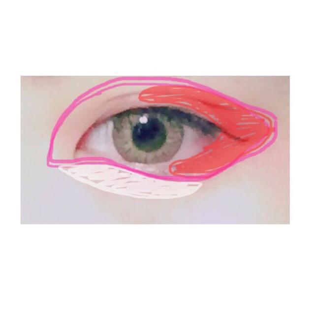 アイホール全体にピンクのシャドウをぬります。下まぶた目頭はアイラインを引くイメージです。 赤の部分に濃いピンクをのせます。 白の部分に薄ピンクをのせます。