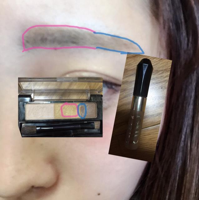 眉毛はパウダーで柔らかく描きます! アッシュ系の眉マスカラを毛並みを逆らってぬります!
