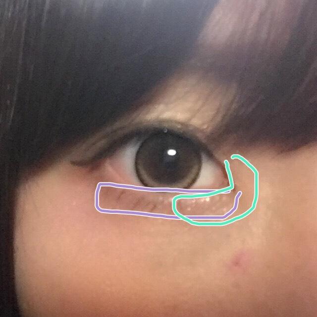 ④を涙袋全体に ⑤を目頭をくるっと囲むように塗ります!  アイライナーはブラウンで若干はね上げ気味に描きます!