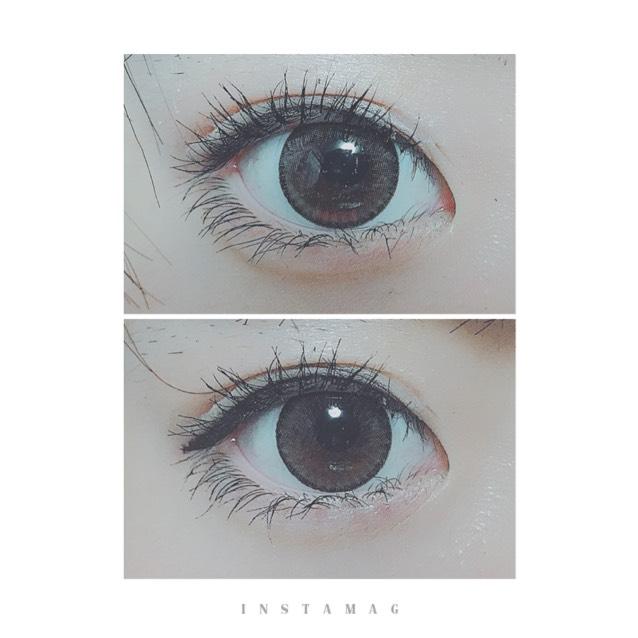 アイラインで目の形が決まる  上:アイラインなし 下:アイラインあり