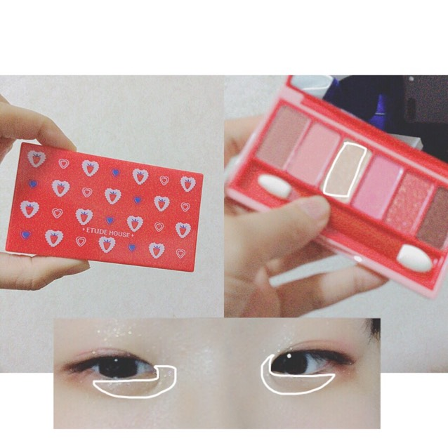 【 ETUDE HOUSE / fantastic color eye #strawberry fondue 】の、白いラメを涙袋と目頭側に乗せる。