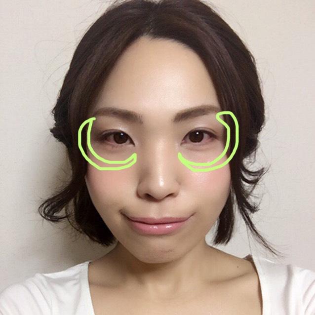 目のクマゾーンを外して、骨が出ているところ、頰の高い位置が特にツヤが強くなるように、←の部分に下地①だけを少量薄く塗る。