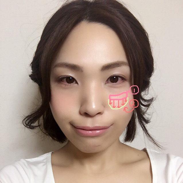 頰の高い位置の①にチークを少し濃いめにつけて下に向かって緑の頰の盛り上がりの範囲内で消えるように。さらにハイライトパウダーで鼻筋と額にツヤをサッとつけてプラス
