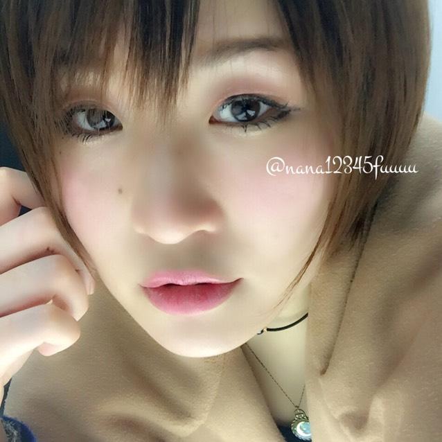 裸眼・自まつげ・青系ピンクメイク