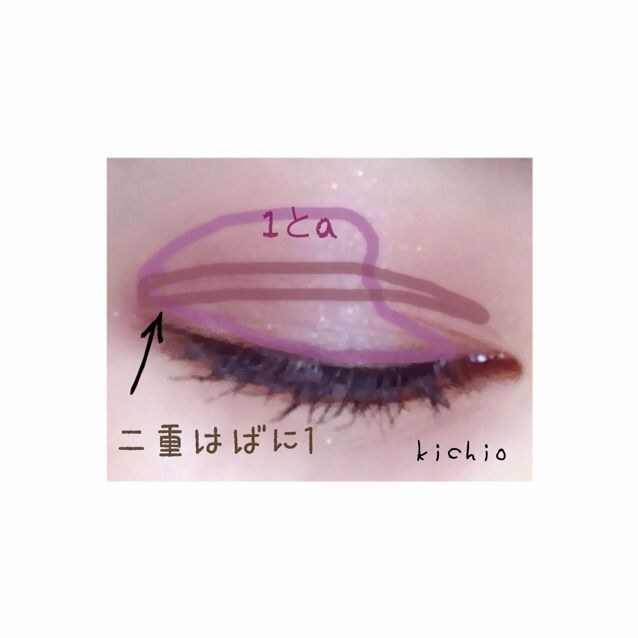 まず、bを薄くアイホール全体にぬる  次 写真に合わせて 目尻から目頭にかけて 幅が狭くなるように1とaをぬる  二重はばのみに1 これは細く濃く‼︎