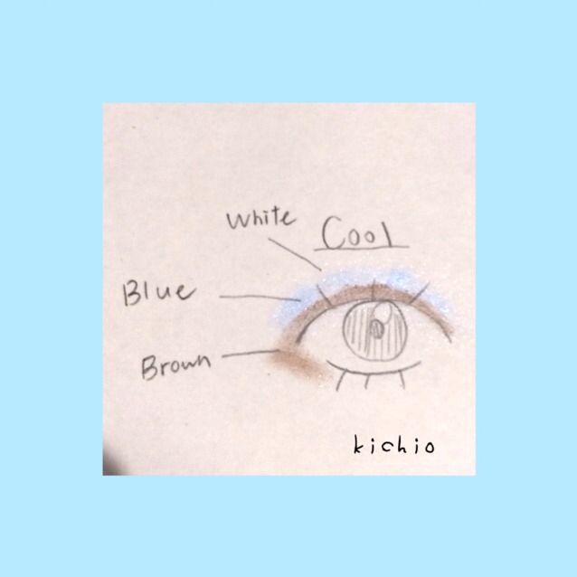 cool style  white color →エルファー パールインアイシャドウ B  blue color →エルファー パールインアイシャドウ B  brown color →キャンメイク パーフェクトスタイリストアイズ 07