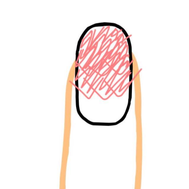 横にずらして、さっきより色づくようにします。 端までスポンジをポンポンします。 はみ出たネイルカラーは気にしない。笑