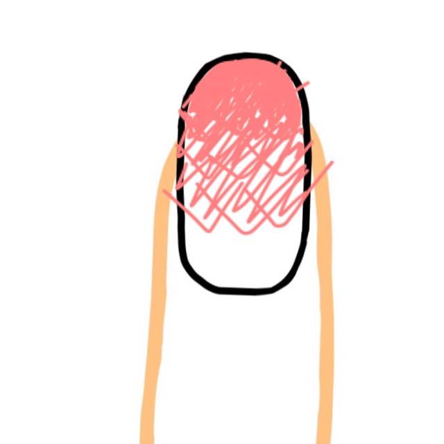 横にずらして、ポンポンします。 爪の色が透けるのが嫌な方は、上からネイルカラーをハケで直接塗ってください。