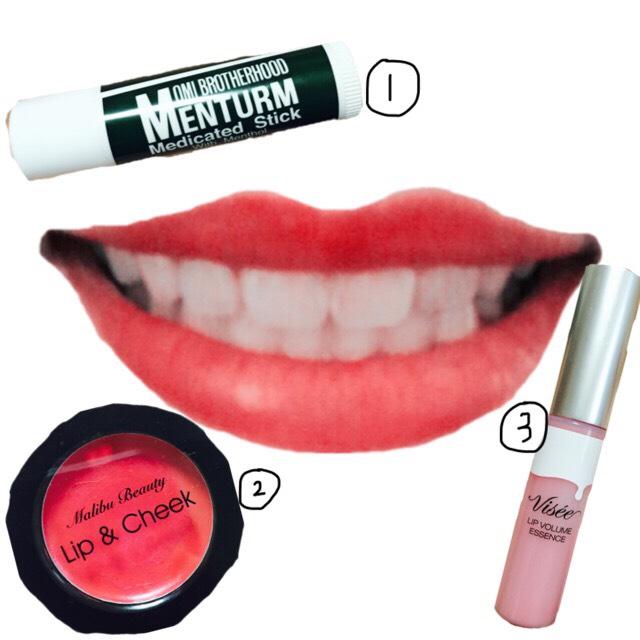 ①②③の順番ですべて唇全体に塗っていきます