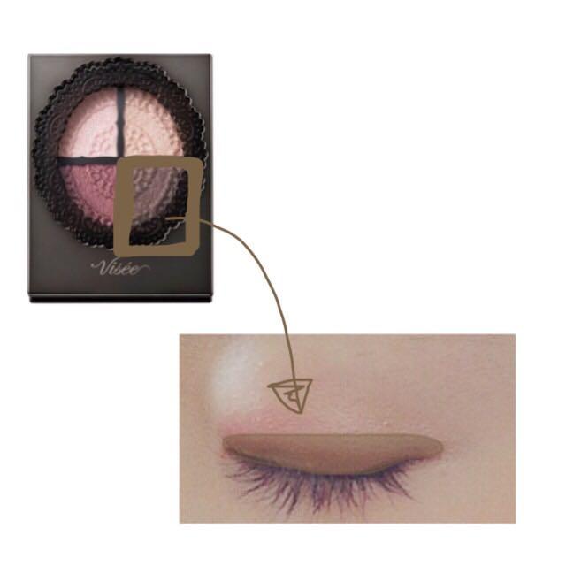 右下のカラーを二重幅に入れる  奥二重の方は目のキワに入れる