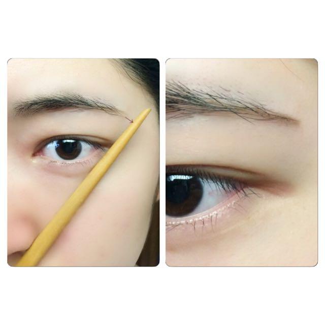 そしたら棒状のものを、小鼻と目尻の延長に当てて、眉尻が棒に届くようにペンシルですっと描きます。