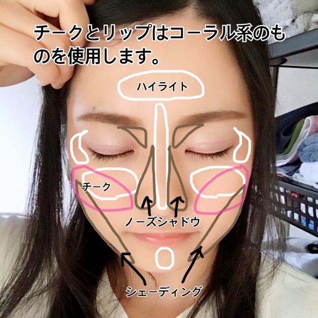 如圖所示將臉打亮、塗上腮紅、畫出鼻影、修容。鼻影與修容使用顏色較暗的粉底 ; 腮紅與唇色使用珊瑚色系的產品。