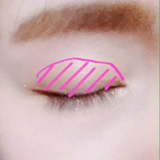 ピンクシャドーなんてもってないし使い切る自信がないから、普段使ってるチークをアイシャドーとして使っちゃいます♪写真の位置に指かブラシでふわっとチークをのせる。