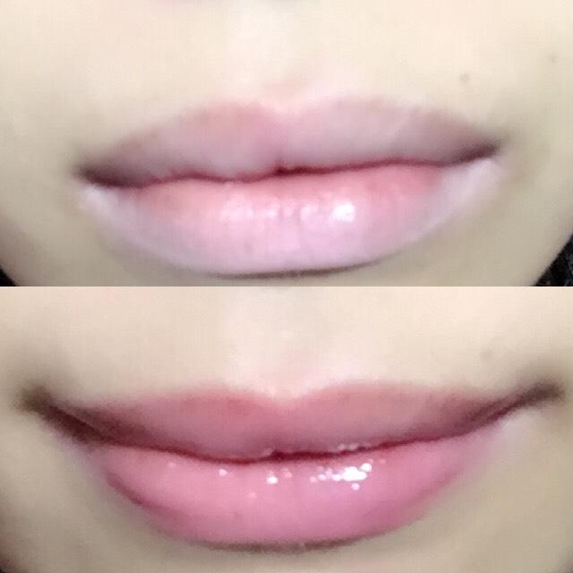 全体に塗るだけで唇の水分量に反応して色が変わります。ちょうどいい色の変化まで待ったら、軽くティッシュオフすれば自分専用ピンクができあがり。
