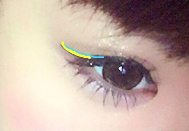目尻部分から 2で書いたラインに つなげるように 黄色の部分のラインを 付け足します。  そうすると、バランス 良く自然な綺麗な ラインになります♡♡