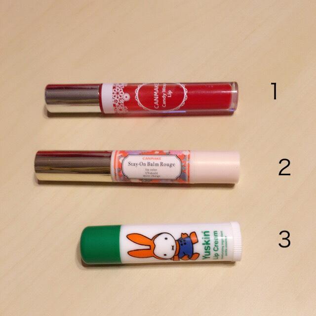 ・3で保湿します。 ・2をオーバーリップめに塗ります。 ・1を真ん中濃いめに塗ります。