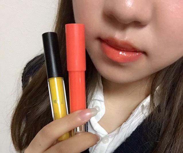 イエローグロスを重ねると単体塗りよりオレンジ感が強くなりました。こういったオレンジのカラーは普段使わないけど、夏で海に行ったりイベントの時に使いたい!という方はイエローグロスを重ねればパキッとしたオレンジに変化するので1本持ってると便利だと思います(^ ^)