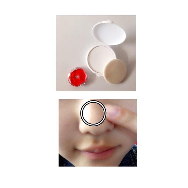 鼻に、キャンメイクのクリームチークを○の部分に中指でポンポンっと軽く塗ります。  ベタつく場合、ピジョンの固形ベビーパウダーを重ねて塗ります。