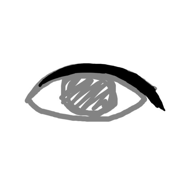 二重幅をアイライナーで埋めます。 目を開いた時に埋まれば良いので、あまり太くし過ぎない様に…