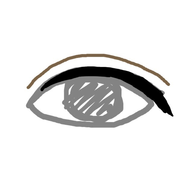 アイブローペンシルで二重を描きます。 コスプレなら濃いめ、普段使いなら薄めのペンシルを使ってくださいね。 ※目を開けたまま描くように!