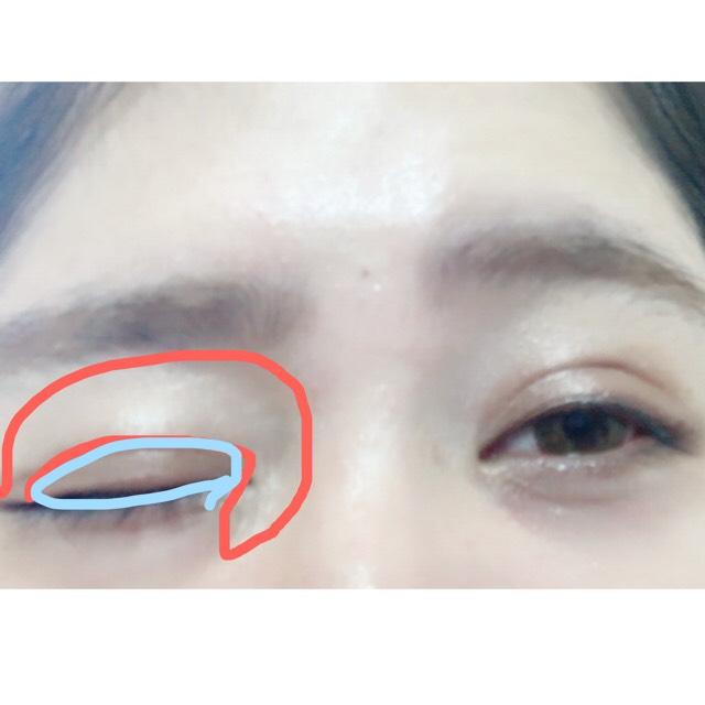 Aをアイホール全体に眉下ギリギリから目頭から流して下に指でムラなくつけてあげて、Bを二重幅につけてあげます。
